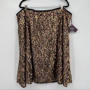 Ava & Viv sequin skirt plus size 3X gold bronze